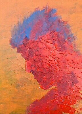 Blue Red Punk Rock Abstract Palette Knife Portrait Man Face Painting Wall Art
