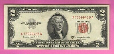 $2 1953 Two Dollar CU Red Seal Small Size USA Legal Tender Note Bill Currency