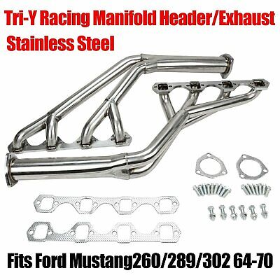 FORD MUSTANG 64 TO 70 260 302 STAINLESS STEEL TRY Y HEADER POLISHED 289