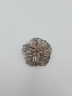 Vintage Mexico Silver Filigree Large Flower Pin Brooch