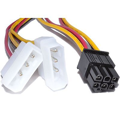 6 Pin PCI-E Graphics Card to 2 x Molex IDE Y cable Power Adapter Cable wire