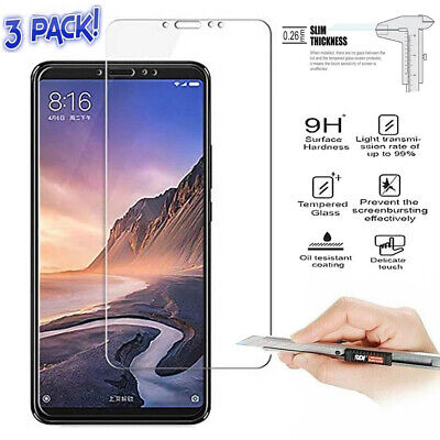 9H Premium Tempered Glass Screen Protector Guard Film For Xiaomi Mi Max 3 3-Pack