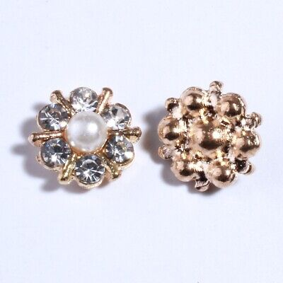 30PCS 12MM Rhinestone Chic Sparking Gold Silver Plating Alloy Buttons For Craft