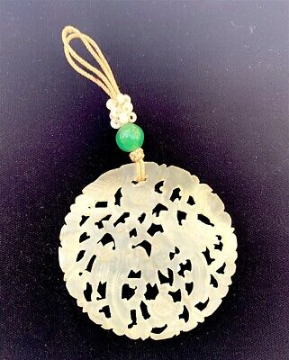 Antique Chinese White Jade Carved Disc Pendant and Friend