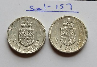 2x  £1 One Pound Coin 1988 Crowned Shield of the Royal Arms Low Mintage coins