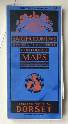 Bartholomews Revised Half Inch Contoured Cloth Map Dorset Sheet 34