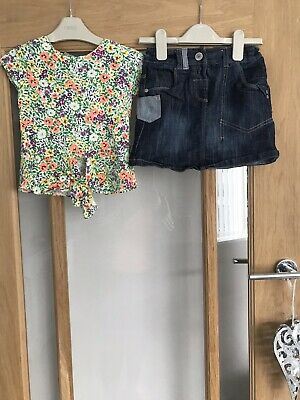 Next Girls Summer Outfit Age 5 Years Floral Skirt & Vest Top