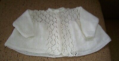 New Hand  Knitted Baby Jacket White 12 24   Mths App