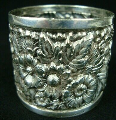 Antique Tiffany & Co Silver Plate Repousse Napkin Ring Floral Design