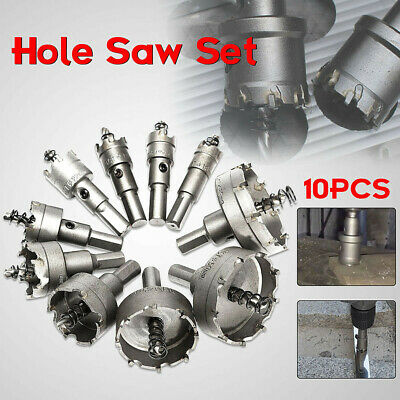 10Pc Carbide Tip TCT Hole Saw Cutter Drill Bit Tool Set For Steel Metal Alloy US