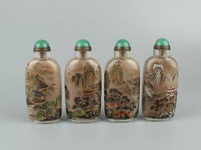 Chinese Exquisite Handmade four Seasons Glass Inside painting snuff bottle 4pcs