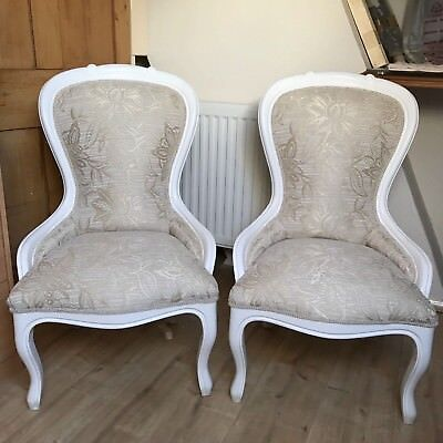 One Tiffany Chair, Just Upholstered In White And Pale Gold Chenille.