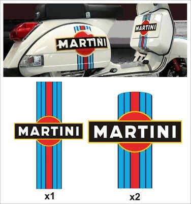 Kit MARTINI Vespa PX scooter cofani bauletto body Stickers Racing stickers decal