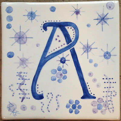 Hand painted Alphabet tiles, handmade in  U.K.