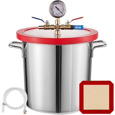 3 Gallon 12L Vacuum Chamber Stainless Steel kit Silicone gasket Wide 160ºF