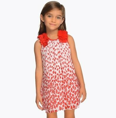 New Girls Mayoral Pleated Dress With Appliqué Flowers , Age 2 Years , (3915)