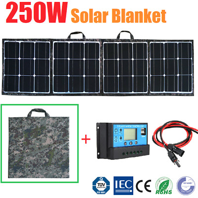 250W Folding Solar Panel Blanket Kit Solar Mat 12V Battery Charging Regulator