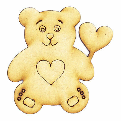 Teddy Bear Heart - 3mm MDF Wooden Laser Cut Tags Scrapbook Topper Embellishment