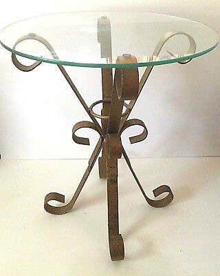 Italianate Gilt Metal Glass Top Accent Table Vintage