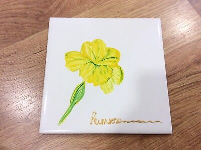 Vintage HAND PAINTED Yellow PRIMROSE Flower Foral TILE (6in x 6in)