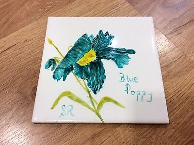 Vintage HAND PAINTED BLUE POPPY Flower Foral TILE (6in x 6in)