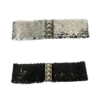 Wide Waist Elasticated Lady Girl Fashion Sequin Buckle Belt Belts Elastic CatWal