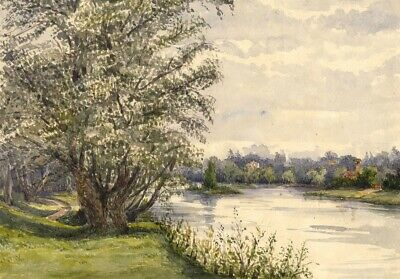 River Thames at Halliford, Surrey - Mid-19th-century watercolour painting