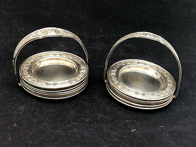 Vintage Silverplate Butter Pat Trays With Holders - Lot Of 8