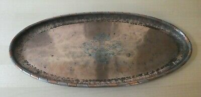 Arts & Crafts Movement Hugh Wallis Copper Tray, inlay pattern. signed HW