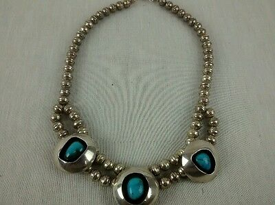 Native American Navajo  sterling beads  turquoise shadow box  necklace