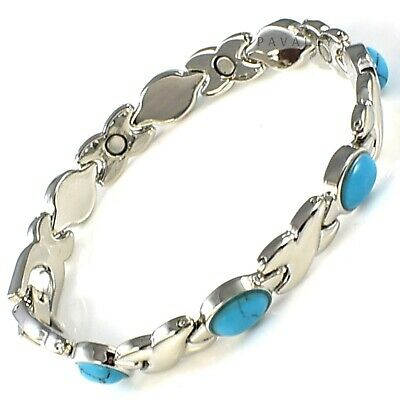 MAGNETIC BRACELET carpal tunnel arthritis pain relief Ladies Womens silver teal