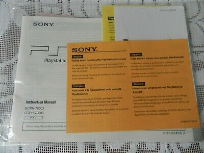 Sony Playstation 2 PS2 Instruction Manual SCPH-70002 & SCPH-70003