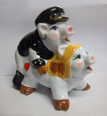 Piggy Bank Ceramic Hand painted Lovers Novelty Vintage Biker Motorcycle