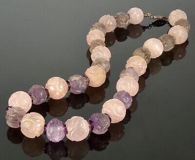 Antique Chinese Hand Carved Amethyst & Rose Quartz Shou Bead Necklace