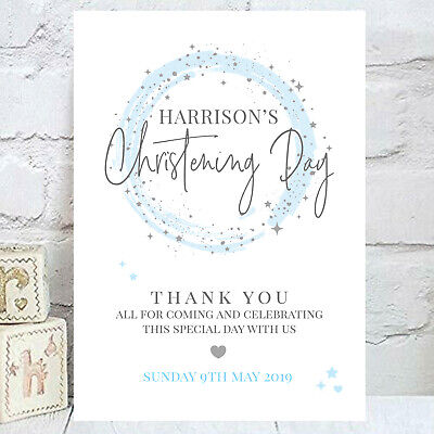 Personalised Christening Baptism Party Welcome Sign Grey & Pink or Blue (BS51)