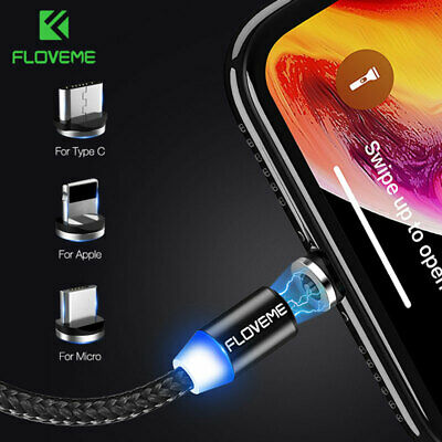 Braided Magnetic Charging Cable Micro USB Type-C Lightning For Apple & Android