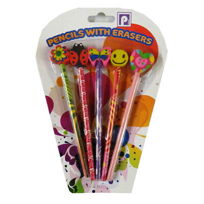 Children's Fun Themed HB Pencils and Matching Erasers - 5 Pack - Boys or Girls