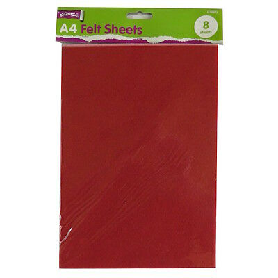 A4 Felt Coloured Sheets - Pack of 8 – All Assorted Colours - by Crafty Creations