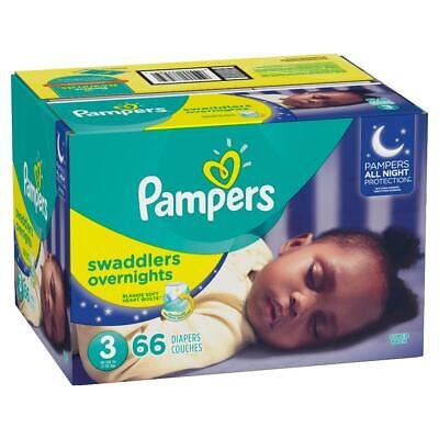 Pampers Swaddlers Overnights Disposable Diapers Size 3, 4, 5, 6 Free 2 day ship