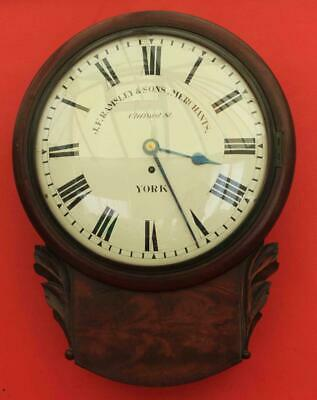 "J F Ramsley & Sons English Flame Mahogany 8 Day Fusee 12"" Convex Drop Dial Clock"