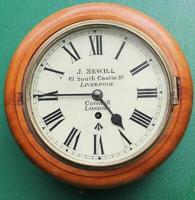 "J.sewill Liverpool & London 8"" Dial Antique English Mahogany 8 Day Fusee  Clock"