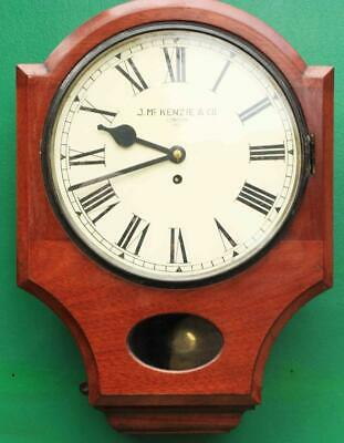 "J Mckenzie Antique 8 Day Fusee 12"" Drop Dial Mahogany Gallery Case Wall Clock"