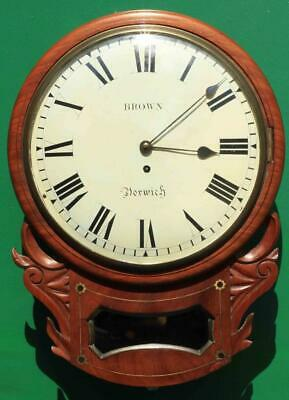 "Brown Of Norwich Antique English 8 Day Fusee Mahogany 12"" Drop Dial Wall Clock"