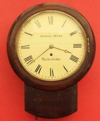 "Samuel Webb Rotherhithe Early English Fusee 8 Day 10"" Drop Dial Wall Clock"