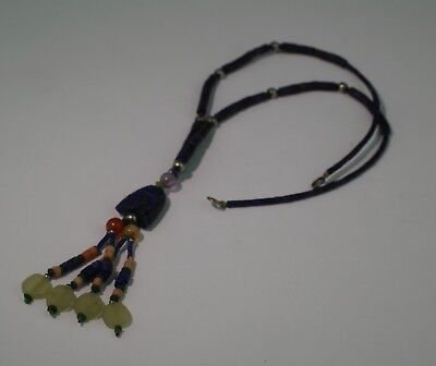 Ancient Carved Lapis Bead Necklace - No Reserve