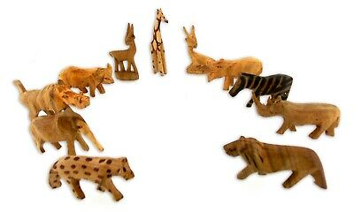 Carved small natural vintage wooden animal sets wooden zoo animals miniatures
