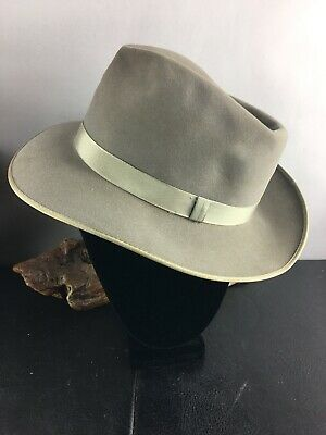 9e4e3bad63a4b VINTAGE 1940S CHAMP Featherweight Kasmir Finish Mens Gray Fedora Hat ...