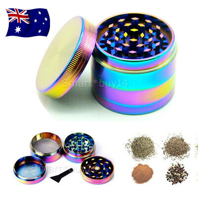 NEW Metal Hand Herb GRINDER 4 Layers Rainbow Tobacco Smoke Muller Lid Pot Roll