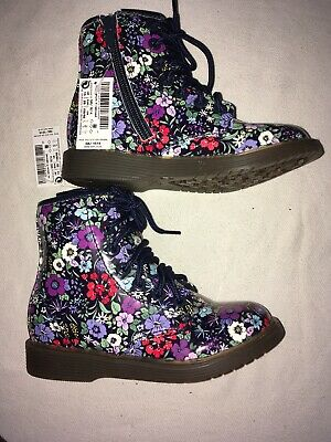 Next Kids Girls Floral Zips & lace Up Ankle Boots Uk 8 Eur 25.5