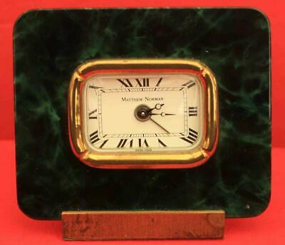 Swiss Matthew Norman Green Marble Travel Alarm Clock
